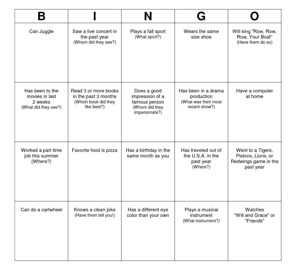 bingo chart