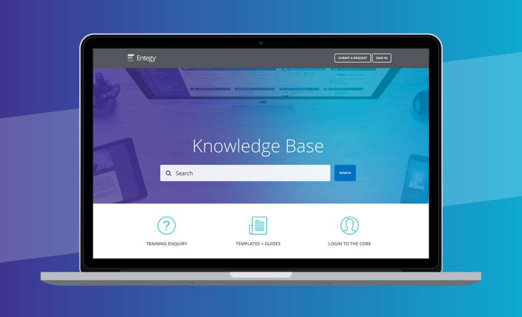 laptop with knowledge base home page