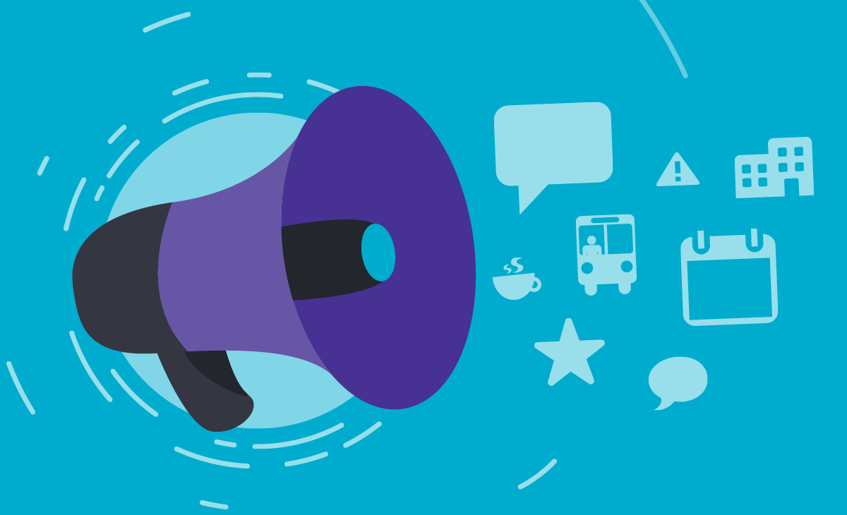 illustration of megaphone and communication icons