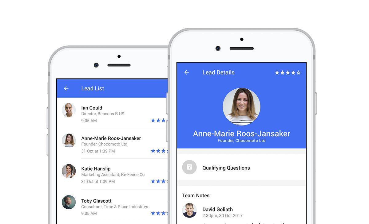 screenshots of lead capture app dashboard and lead