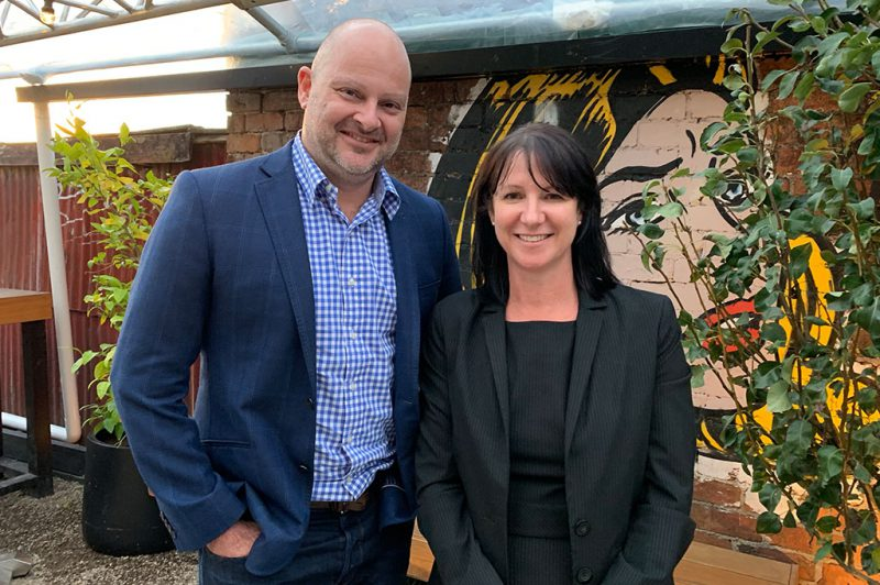 Entegy Director Angus Hotchin with Event Solutions Founder and Managing Director Claire Webber