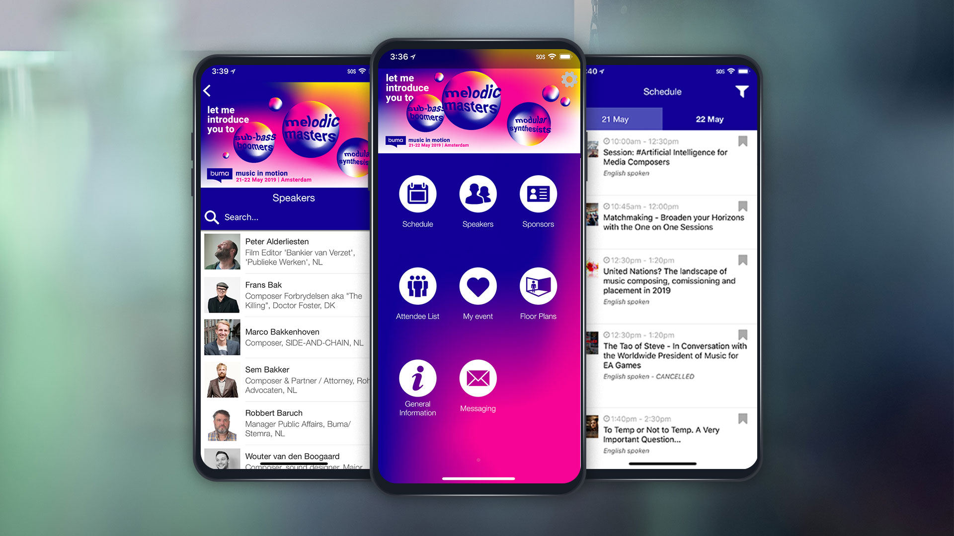 three screens showing BUMA event app