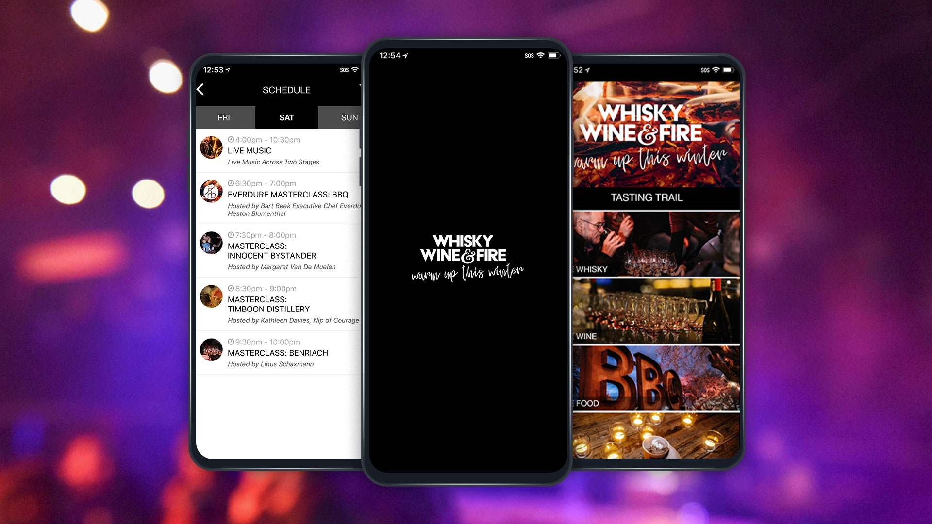 whiskey wine and fire event app