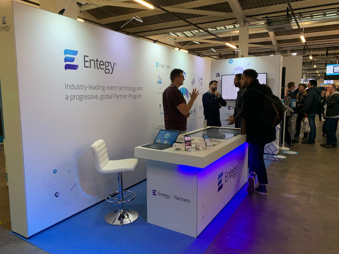 entegy booth at event tech live with touch screen